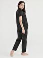 Penti Siyah Minimal Dark Saten Pijama Takımı Siyah